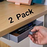 2 Pack Under Desk Drawer,Small Under Organization Hidden Pencil Storage,Mini Plastic Drawers Organizers Tray Great for Office