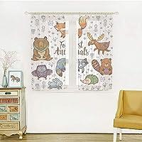 装飾 レースカーテン UVカットミラーレースカーテン 幅100cm×丈100cm キャビンの装飾、かわいい森の動物のセット部族自然要素キッズルーム保育園の壁アート、多色