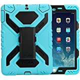 iPad Pro 9.7 Case, Feitenn Dual Layer Soft Rugged Hard PC Stand Kickstand Built-in Screen Protector Shockproof Kid Proof Heavy Duty case 9.7 inch iPad Pro for Kids (Blue/Black)