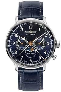 ZEPPELIN(ツェッペリン) 腕時計 Hindenburg(ヒンデンブルク) LZ129 メンズ ムーンフェイズ シルバーサンレイ/シルバー/ネイビー  7036-3