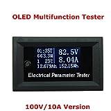 電流電圧メーター 電力計 多機能OLED テスターメーター 電圧計 電流計 温度計 タイマーバッテリー容量テスター 100V/10A