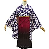 卒業式袴セット 女性レディース二尺袖着物ぼかし袴セット 5サイズ4色/3L(102cm) エンジ(ワイン)