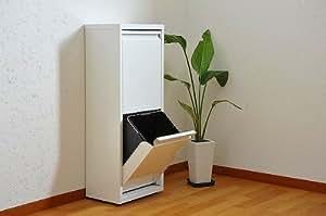 丈夫で清潔スチール製薄型ダストボックス2分別 キッチンゴミ箱sei-ds-76
