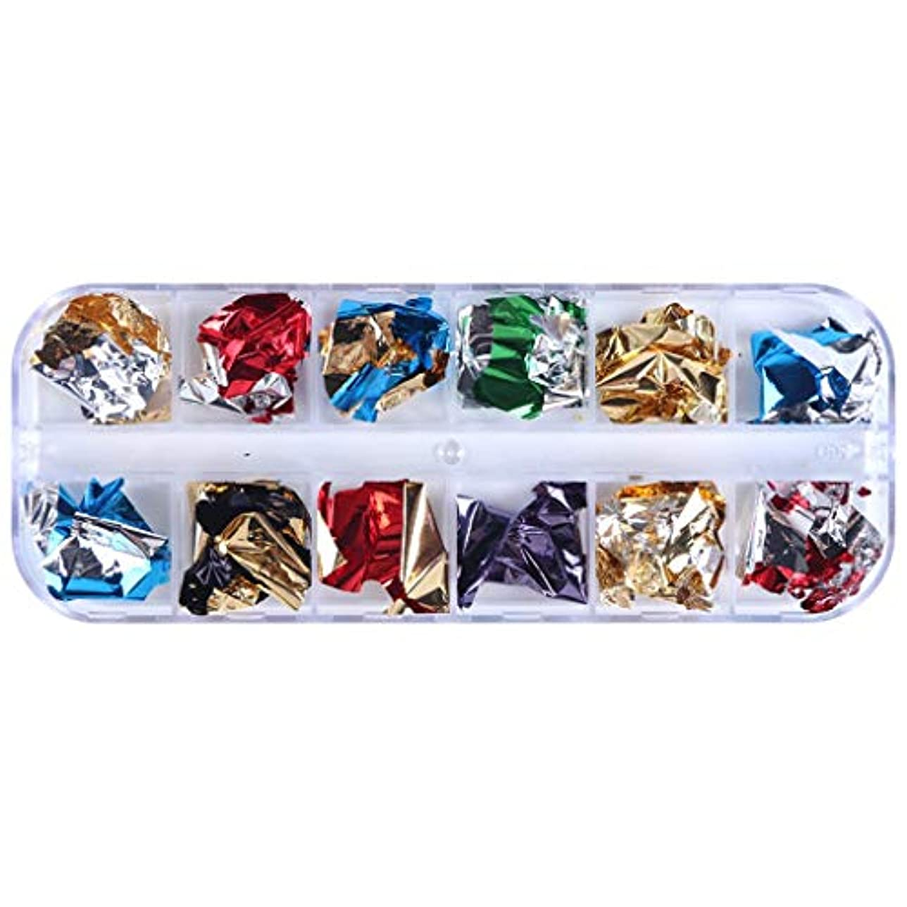 軽やりすぎあなたのものOD企画 細切りラメネイルホイル ホイルフレークデコレーション ネイルレジンパーツ金箔/銀箔パウダー 埋め込み用 12色セットケース付け 3Dネイルアート デコレーション ネイルデザイン マニキュア デコパーツ 夏