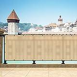 Yurnero ベランダ シェード 360*100cm ベランダ 目隠し バルコニー シェード 日除け シェード 編み 通風性が良い 遮光断熱 UVカット ハトメ付き 結束バンド付属 設置簡単 2年間保証