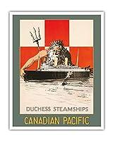 「公爵夫人」の汽船 - カナダ太平洋 - ネプチューン - ビンテージな遠洋定期船のポスター によって作成された パーシー・アンジェロ・ステイン c.1929 - アートポスター - 41cm x 51cm