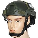 OneTigris サバゲーヘルメット MICH 2001 米軍レプリカ装備 NVGマウント・サイドレール付き 防災・作業・コスプレ・軍用などに (ミリタリーグリーン)