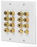Fosmon ホームシアタースピーカー壁プレートコンセント オーディオ分配コンセントパネル銅 バナナプラグバインディングポスト スピーカーサウンドオーディオコネクタ挿入ジャックカプラ (7.1 サラウンドサウンド) (7スピーカー, 2RCAジャックのサブウーハー)