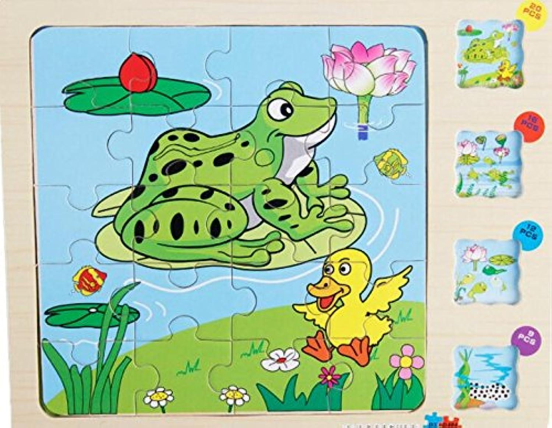 HuaQingPiJu-JP かわいい木の多層パズルアーリーラーニングの数字の形の色の動物のおもちゃ子供のための素晴らしいギフト(カエル)
