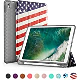 SWEES Compatible iPad Pro 10.5 Case, Slim Full Body Protective Smart Cover Leather Case Rugged Shockproof with Stand Built-in Apple Pencil Holder Compatible iPad Pro 10.5 inch, US Flag
