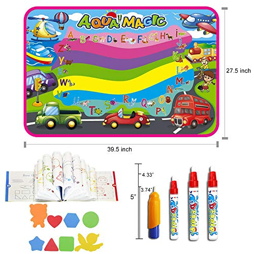 AuFit Water Drawing Mat, Doodle Mat Aqua Magic Painting Mat, Ideal Kids Toys Toddlers Vehicle Painting Board Writing Mats with 4 Magic Pens 8 Molds for Boys Girls Gift (X Large)