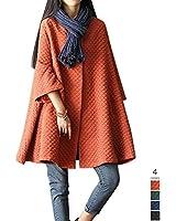 i-select レトロ な Aライン コットン マトラッセ ドルマン スリーブ ハーフ コート レディース ノーカラー クラシカル おしゃれ ゆったり 大きい フリーサイズ 黒 青 緑 オレンジ 全4色