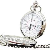 [モノジー] MONOZY 懐中時計 鏡面 フルハンター シルバー インデックス アンティーク 風 収納袋 化粧箱