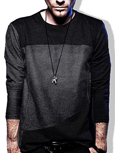 BUZZ WEAR [バズ ウェア] メンズ シャツ Tシャツ 長袖 斜め 切り返し バイカラー ドルマン カットソー ダークグレー M