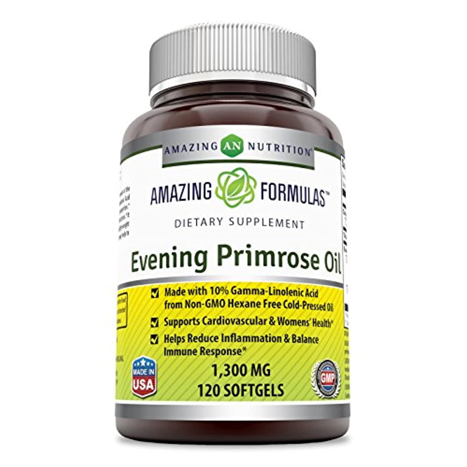 Amazing Formulas Evening Primrose Oil 1300 Mg 120 Softgels - High Potency- Made with 10% Gamma Linoleic from Non-GMO...