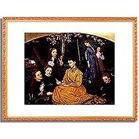 Hughes, Arthur,1832-1915「Ein Geburtstags-Picknick. 1867.」インテリア アート 絵画 プリント 額装作品 フレーム:装飾(金) サイズ:L (412mm X 527mm)