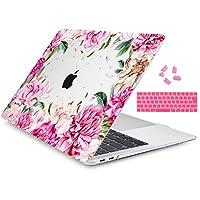TwoL MacBook Pro 13 Touch Bar ケース A1989 /A1706 クリスタル 花柄 排気口設計 衝撃吸収 保護カバー シェル シリコン日本語キーボードカバー ダストプラグ付き New MacBook Pro Retina 13 インチ 2016-2019発売 対応 ハードケース (牡丹)