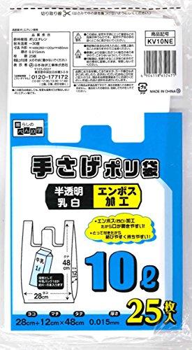 日本技研工業 手さげポリ袋 10L  乳白 280×480m...