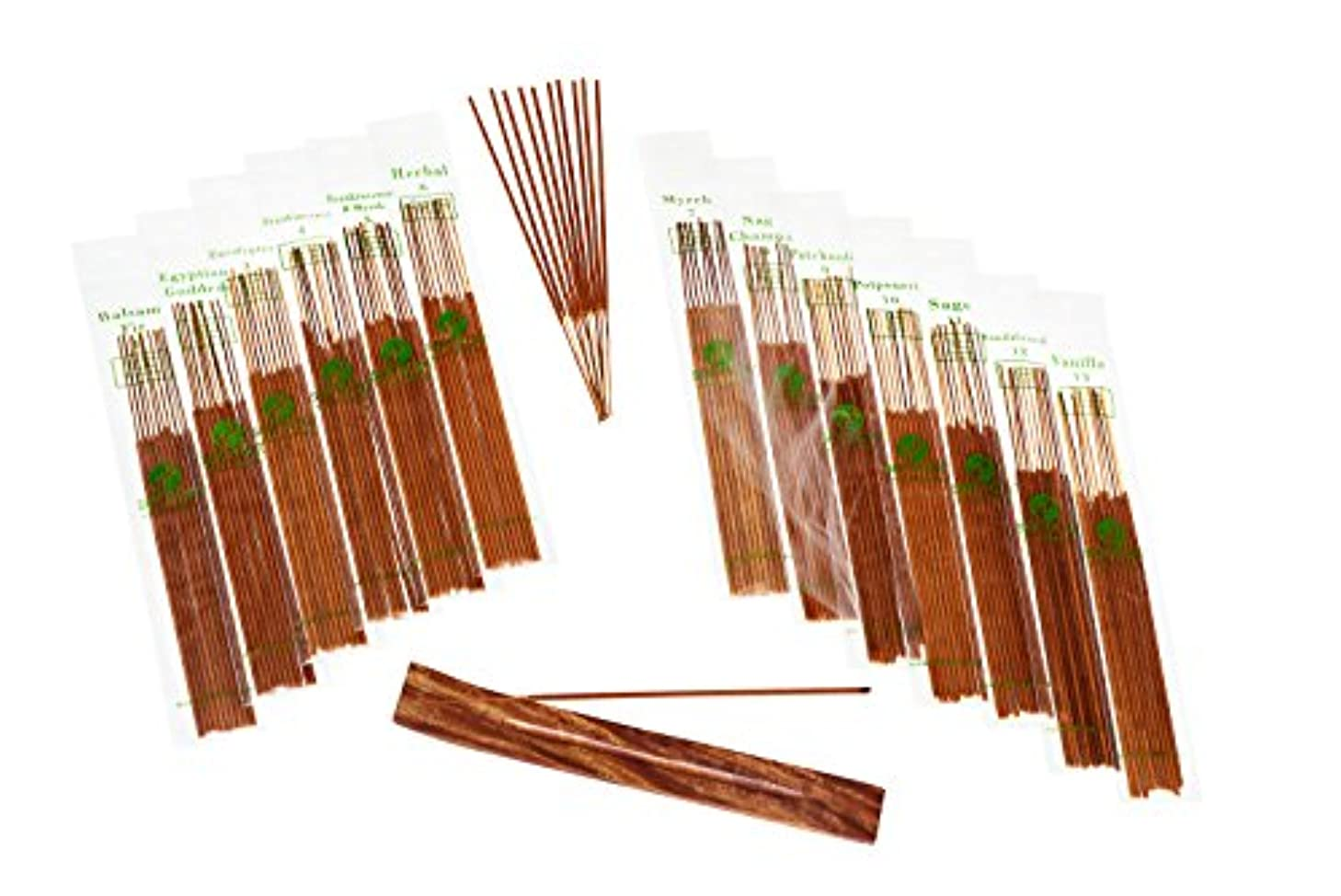 メモ分泌する剪断SENSARI HAND-DIPPED INCENSE & BURNER GIFT SET - 120 Stick Variety, 12 Scent Assortment - Nag Champa, Sandalwood...