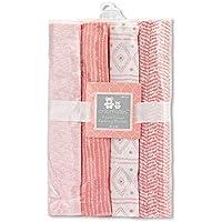 Regent Baby 4 Piece Receiving Blanket, Pink/White [並行輸入品]