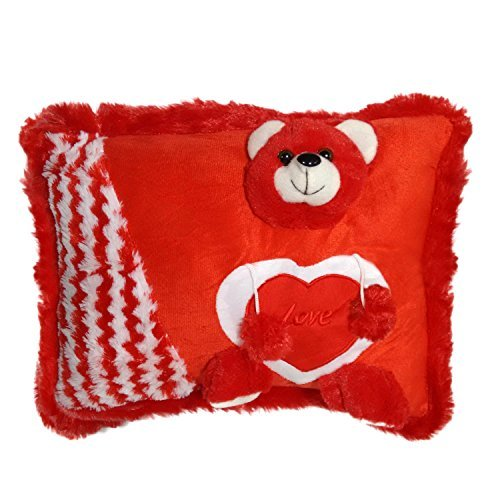 Ultra Red Teddy Soft Love Cushion Pillow, Valentine Gifts for Kids & Her (Red)