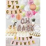 Sorive ガールズ ベビーシャワーパーティーデコレーション It's A Girl ベビーシャワーデコレーションキット Oh Baby Foil Balloons It's A Girl バナー ティッシュペーパー ポンポンランタン ハニカムボール