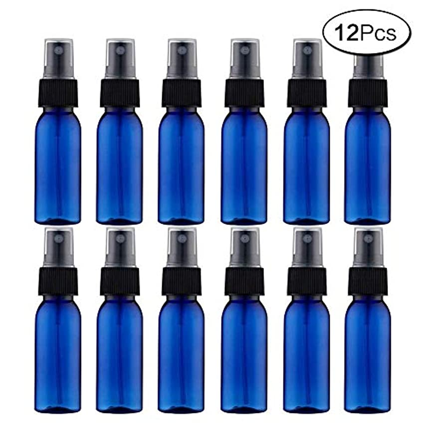 もっと少なくレンズ挑発するスプレーボトル 12本セット 詰替ボトル 遮光 空容器 霧吹き(30ml ブルー)