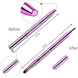 (Dual End Retractable Brushes Purple) - Cosmetic Brushes Lip Eye Double Sided Makeup Brush with Cap for Travel Retractable Lip Brush Eyebrow Brush Concealer Brush For Lipstick Portable Purple