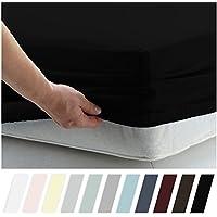 California Design Den 100%コットン ボックスシーツ ロング 400スレッドカウント – 純自然コットンのベッドシーツ ソフト&滑らかなサテン地織り フル ブラック
