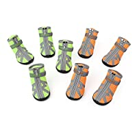 Nekovan ペット靴、犬の靴、小さな犬の靴、滑りにくい季節の屋外ハイキングシューズ (Color : Orange [4])