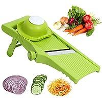 Matacolマンドリンスライサーハンド食品フルーツカッター野菜スライサーを開催し、千切りには、食品ホルダー付きフライドポテトステンレス鋼の統合ブレードストリップ