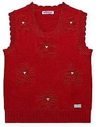 mimixiong(ミミクマ)キッズ 女の子 ベスト 袖なし Uネック セーター ニット 子供服