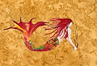 Caroline's Treasures 8727PLMT Ginger Red Headed Mermaid On Gold Fabric Placemat, Multicolor