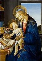 手描き-キャンバスの油絵 - 宗教画 Madonna with the book ボッティチェリ 芸術 作品 洋画 ルネッサンス Master -サイズ01