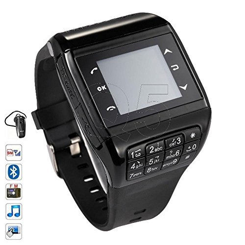 SunKinFon Hours Phone Unlocked Q5 GSM Bluetooth Smart Watch Mobile Phone Smartwatch Support Touch Screen SIM Card Keyboard MP3 Watch for Samsung Galaxy S7 S7 edge S6 S6 edge S5 S4 (All black) [並行輸入品]