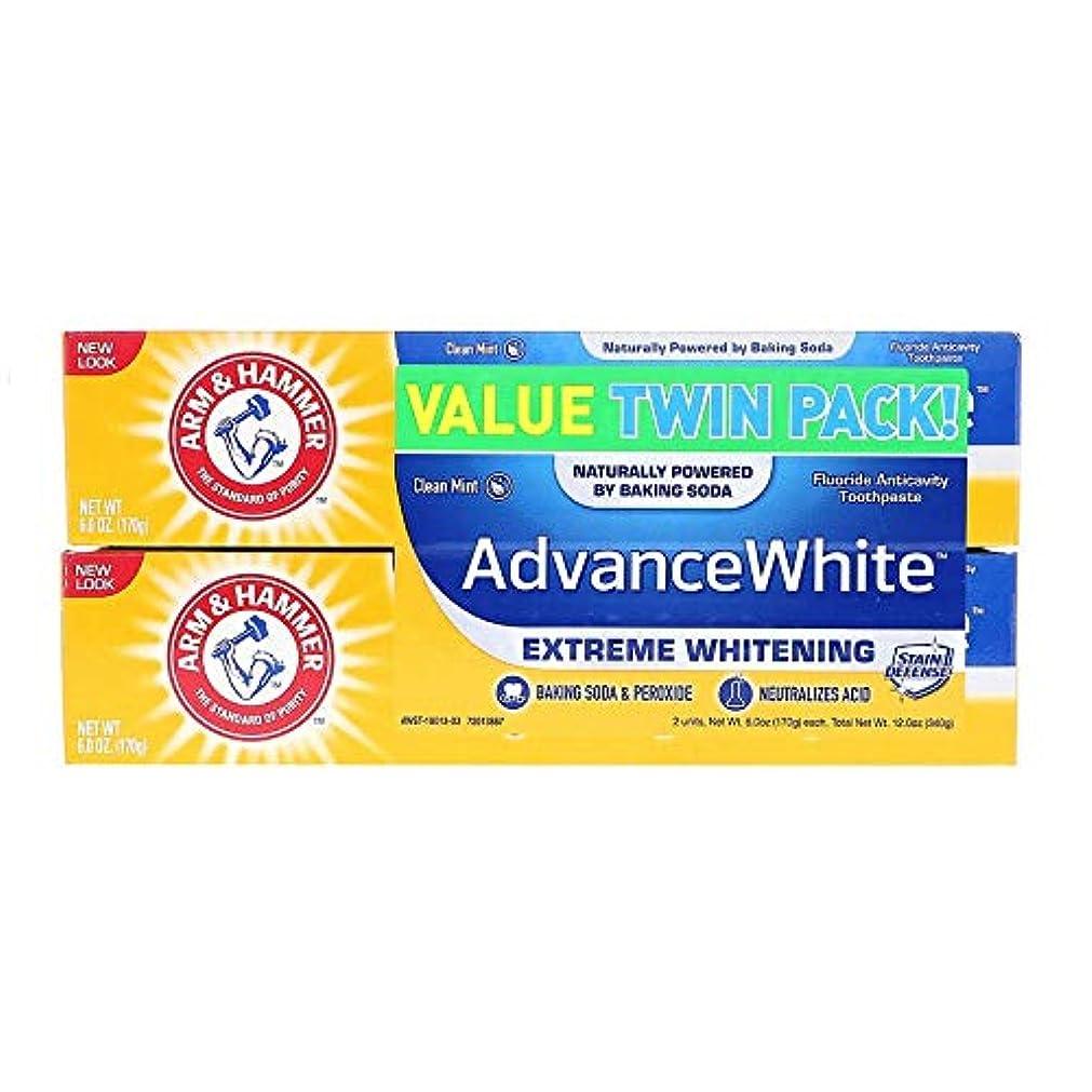 咽頭ツイン認可Arm & Hammer アーム&ハマー アドバンス ホワイト 歯磨き粉 6個パック Toothpaste with Baking Soda & Peroxide