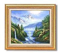 手描き油絵 グリーン油絵額F10 「大自然の恵」/ 絵画 壁掛け のあゆわら