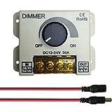 Auki 0〜100%PWM調光器、DC 12〜24V(最大30A)調光器、LEDテープライト調光スイッチコントローラー、DCモーターまたはDCファンスピードコントローラー、車内LEDライトノブ調光スイッチ,20AWG DCジャックおよびDCプラグ、5521 DCクイックコネクタ付属(サイズC)