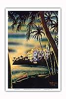 ワイキキビーチのサンセット - ホノルル、ハワイ - ロイヤルハワイアンホテル - ビンテージなハワイのエアブラシアート によって作成された フランク・オダ c.1950s - アートポスター - 31cm x 46cm