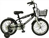 TOPONE キッズ 16インチ BMX風 子供用自転車 補助輪 前カゴ KidsRider ブラック
