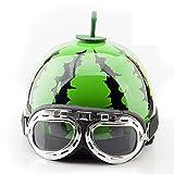 ACOOLBAR 新品 西瓜 スイカ 夏用ヘルメット バイクヘルメット ハーフヘルメット 半帽 バイク用品 男女兼用 安全帽 メンズ レディース 輸入品 (眼鏡付き, フリー(55-59cm)頭囲サイズ)