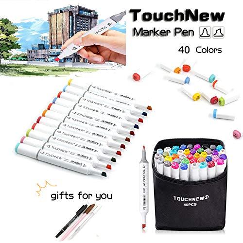 TouchNew マーカーペン 太細両端ペン先 水彩毛筆 油性 塗り絵、絵描き、落書きなどに適用(40色)