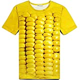 立体とうもろこし柄Tシャツ&サングラス 3DおもしろコーンTシャツと黄色いサングラスのセット (L) [並行輸入品]