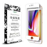 iPhone 8 / 7 / 6s / 6 ガラス フィルム 全面保護 耐衝撃 [ ダイヤモンド ガラスフィルム ] 光沢 / ホワイト