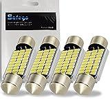 Safego C5W 36mm 27SMD 3014 フェストゥーン LED ライト CANBUS エラーフリー ドームランプ ルームライト ドアライト 上質な白色光 色温度6000K-6500K 12V アルミ製 高輝度 高寿命 DE3425 6418 6411 3W ホワイト 4個入り