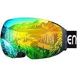 enkeeo スキーゴーグル レンズ着脱可 マグネット式 ダブル球面レンズ UV400 紫外線カット 曇り止め 防風防塵 ヘルメット対応 男女兼用 スキー 冬山登山などに HB-181【メーカー保証】