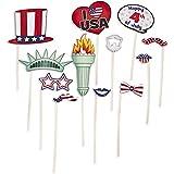 12個パック アメリカ国旗 紙製 フォトブースティック 小道具 7月4日 お祝いパーティー 記念品 装飾アクセサリー