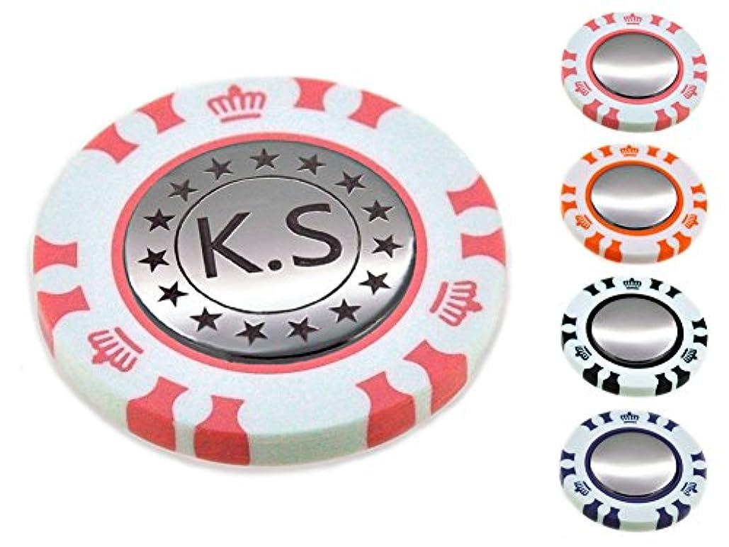 先駆者追放する多数のポーカー カジノチップ スタイル ダブル ゴルフマーカー 名入れ 刻印 星柄 イニシャル デザイン