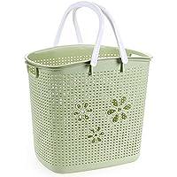 YI LU Deng JU- 洗濯バスケット、汚れた衣類の収納用バスケット、汚れた衣服のバスケット、収納用バスケット、汚れた洗濯用バスケット、プラスチック製の洗濯用バスケット (色 : Green)