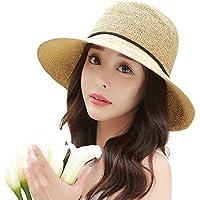 Siggi Womens Summer Sun Straw Hat UPF 50+ Packable Wide Brim for Ladies Foldable Adjustable 56-59cm